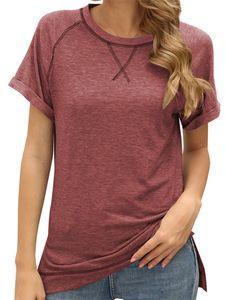 Einfarbiges Oberteil für Frauen Kurzarm Lässiges T-Shirt Loses Oberteil,Farbe: Ziegelrot,Größe:M