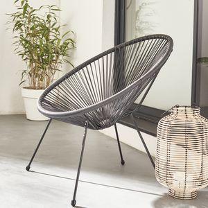 ACAPULCO eiförmiger Sessel - Schwarz - Retro-Design 4-beiniger Sessel, Kunststoffschnur, innen / außen