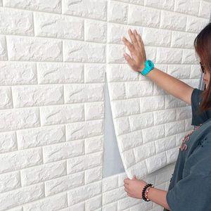 70x77cm 10 Stk 3D PE Foam Wandtapete Selbstklebend Weiß Steinoptik Soft Anti-Collision Wandpaneele Ziegelstein Steinoptik Wanddeko für Badezimmer Balkon Küchen
