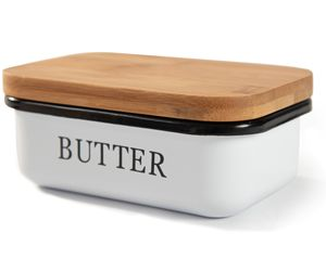 Theo&Cleo Butterdose mit Holzdeckel, Butterglocke für 250 g Butter, Multi-Funktion Butter Dish, Edlem & Nachhaltigem Bambusdeckel, Weiß (Weiß)