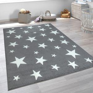 Kinderteppich Kinderzimmer Grau Anthrazit Sternen Muster Kurzflor Robust, Grösse:160x220 cm