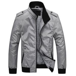 Herren Herbst Casual Fashion Pure Color Patchwork Jacke Reißverschluss Outwear Mantel Größe:XL,Farbe:Grau