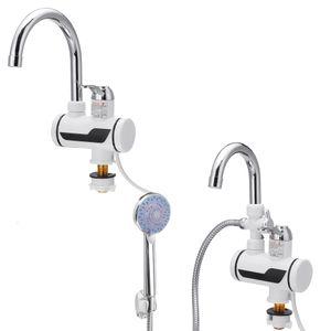 Elektrisch LED Wasserhahn Sofort Heizung Durchlauferhitzer 3000W + Duschkopf Kopfbrause Edelstahl Regendusche