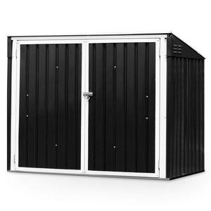 GOPLUS Mülltonnenbox Gartenlagerhaus, Multifunktionaler Geräteschuppen Deckel mit Gasdruckfedern, Mülltonnenboxen Metallschuppen mit Abschließbarer Sicherheitstür, Gartenschrank Aufbewahrungsbox, Dunkelgrau