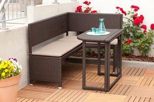 Merxx Eckbank Set inkl. Kissen - Stahlgestell mit Kunststoffgeflecht braun - 50505-210