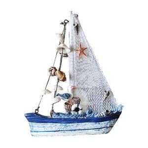 Holzboot Segelboot Segelschiff Boot Schiff Holz maritime Deko Fischernetz 4