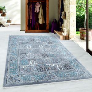 Orientteppich Baumwollrücken Kurzflor Teppich Mood Muster Bordüre Silber, Farbe:Silber, Grösse:140x200 cm