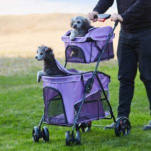 Hundebuggy, Hundewagen, Doppelter Hundebuggy, Jogger Buggy, Pet Stroller, Haustier-Kinderwagen, Lila