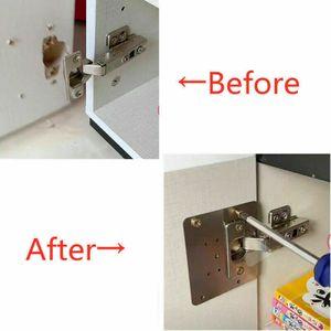 2x Edelstahl Reparaturplatte Scharniere Reparaturwerkzeug, für Schrankscharniere/Cupboard Repair