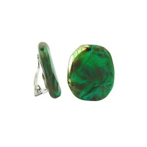 Clip Ohrring 28x23mm Kiesel grün-khaki-braun-marmoriert glänzend Kunststoff-Bouton grün 28x23mm