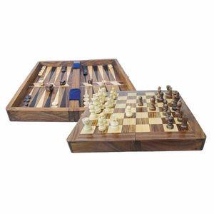 Schach und Backgammon Spiel, Brettspiel in Klappbox aus hochwertigen Hölzern