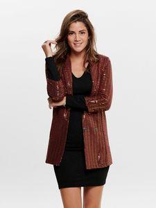 ONLY Damen Eleganter Metallic Glitzer Blazer | 3/4 Arm Lange Mantel Jacke | ONLREBECCA Cardigan, Farben:Roségold, Größe:XL