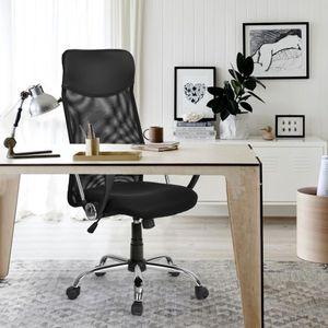 Merax Bürostuhl Schreibtischstuhl Drehstuhl Computer Stuhl Ergonomischer Design Chefsessel mit Kopfstütze, Netzrückenlehne/Wippfunktion, belastbar bis 100kg, schwarz