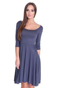 Kleid mit U-Ausschnitt Top 5 Farben, Grafit S/M 36/38