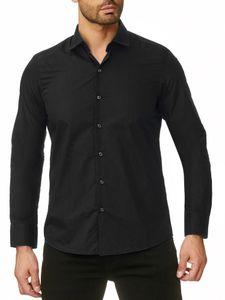 Reslad Herren Hemd Kentkragen Unicolor Langarmhemd RS-7002 Schwarz 3XL