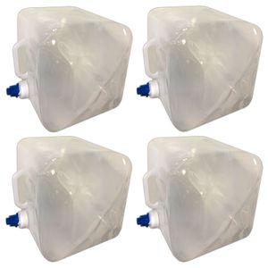 4er Set Wasserkanister 14 Liter Faltbar Lebensmittelecht Für Trinkwasser Geeignet | Trinkwasserkanister Wassertank Mit Hahn | Kunststoffkanister Camping Wasser Kanister