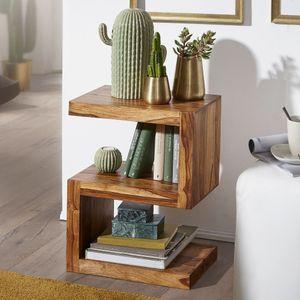 FineBuy Beistelltisch Massivholz 'S' Cube 60cm hoch Wohnzimmer-Tisch Design Landhaus-Stil Couchtisch Farbe wählbar, Nachbildung/Front:Sheesham