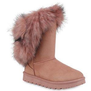 Mytrendshoe Damen Stiefeletten Schlupfstiefel Warm Gefütterte Winter Boots 824177, Farbe: Rosa, Größe: 39