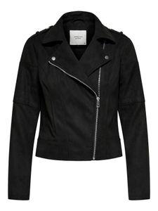 JDY Damen Kunstleder Jacke WildKunstleder Biker Jacket Velour Cropped, Farben:Schwarz, Größe:44