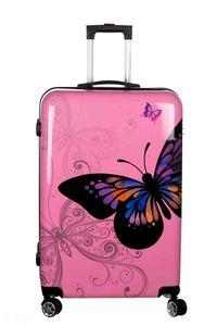 Birendy Reisekoffer Hardcase Trolley Koffer Kofferset 4 Rollen - A1 Pink Schmetterling, Farbe:A1-Pink Schmetterling, Größe:Koffer XXL 74x48cm