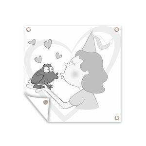 Gartenposter - Eine Illustration Prinzessin küsst einen Frosch - schwarz und weiß - 100x100 cm