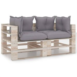 vidaXL Garten-Palettensofa 2-Sitzer mit Kissen Kiefernholz