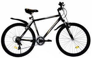 26 Zoll Kinder Herren Jugend Jungen Mädchen Fahrrad Mountainbike Kinderfahrrad MTB Rad Bike Gabelfederung Federgabel 21 Gang Beleuchtung STVO Schwarz Gelb 4200