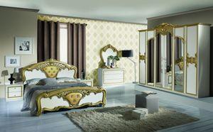 Barock Schlafzimmer Elena in Weiss/Gold 6-Teilig 180 x 200 cm - 6-Türig