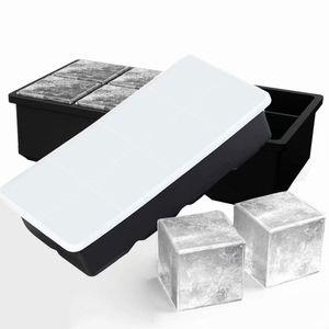 Eiswürfelformen Silikon mit Deckel XXL Eiswürfel Form Eiswürfelbehälter 2er Pack Eiswürfelbereiter 5 cm Große Eiskugeln Runde Eiskugelformer Ice Tray Ice Cube für Bier Cocktails Whiskye