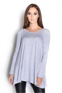 Damen Bluse Longshirt Langarm Tunika Oberteil Shirt Pullover Pulli, 8238 Graumeliert L/XL