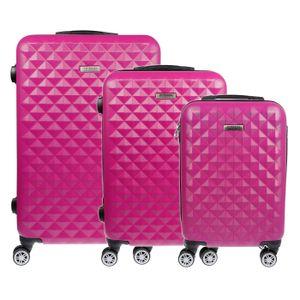 Koffer Hartschalenkoffer Trolley Reisekoffer Kofferset Handgepäck 3 teilig M L XL Pink