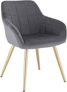 WOLTU Esszimmerstuhl BH232dgr-1 1 Stück Küchenstuhl Polsterstuhl Wohnzimmerstuhl Sessel mit Armlehne, Sitzfläche aus Samt, Gold Beine aus Metall, Dunkelgrau