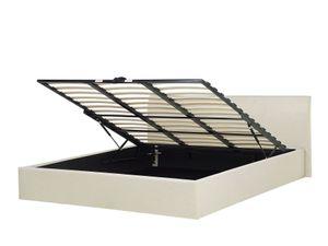 Polsterbett Leinenoptik beige mit Bettkasten hochklappbar 180 x 200 cm ORBEY