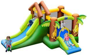 COSTWAY Huepfburg aufblasbar, Springburg mit 30 B?lle, Hüpfschloss mit Rutsche, Spielburg für Kinder 390 x 340 x 230 cm