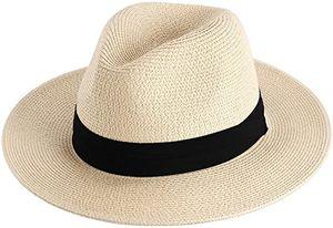 Damen Panamahut Breite Krempe Stroh Sonnenhut für Sommer und Strand Verstellbare Strohhut 55-57cm