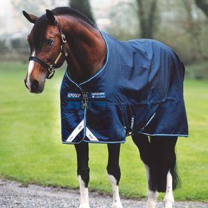 """Horseware Amigo Bravo-12 Turnout Lite 0g Outdoordecke mit Beinbögen marineblau/weiß 145cm 6'6"""""""