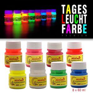 Tagesleuchtfarbe 8er Komplett Set 60ml Neon Schwarzlichtfarbe UV Farbe Neonfarbe Leuchtfarbe