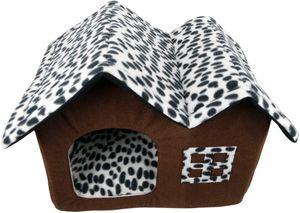 Hundehaus Stoff Fuer Kleine Hunde Katzen Hundehöhle Kuschelhöhle Bett Hundehuette Drinnen mit Dach(55*40*42CM)