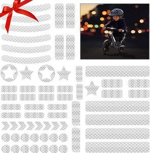 42 Stück Reflektoren Aufkleber Sticker Reflexfolie Set zur Sicherungs-Markierung von Kinderwagen, Fahrrädern, Helmen mit Stickern