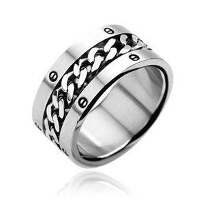 Herren Damen Edelstahl Ring silber gold Ketten Inlay Kettenring Drehring Spinner silber 62 - Ø 19,76 mm