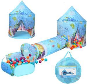 3 in1 Spielzelt + Tunnel + Tasche Kinderzelt Bällebad Spielhaus Babyzelt Playhous