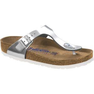BIRKENSTOCK Gizeh Damen Zehentrenner Silber Schuhe, Größe:39