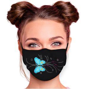 Alsino Alltagsmaske Mundschutzmaske Mundschutz Stoffmaske mit Glitzersteinchen verstellbar Herren Damen verschiedene Motive, Modell wählen:Schmetterling blau