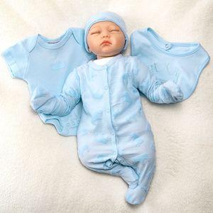 Baby Jungen 5 Teile Set Strampler Body Mütze Latz Handschuhe Krone blau 68 (3-6 Monate)
