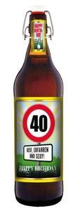 Geburtstag 40 Jahre - Herzlichen Glückwunsch - 1 Liter Flasche mit Bügelverschluss