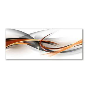 Tulup® Glas-Bild Wandbild aus Glas - 125x50 - Wandkunst - Wandbild hinter gehärtetem Sicherheitsglas - Dekorative Wand für Küche & Wohnzimmer  - Kunst: modern & klassisch - Abstrakte Wellen - Orange