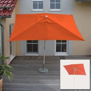 Sonnenschirm Castellammare, Gartenschirm, 2x3m rechteckig neigbar, Polyester/Alu 4,5kg  terrakotta