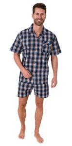 Edler Herren Pyjama Shorty kurzarm Schlafanzug gewebt zum Knöpfen im Karo Design - 65345, Farbe:blau, Größe:50