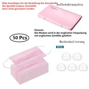 50x Mundschutz Maske 3-lagig Atemschutzmaske Schutzmaske Gesichtsmaske, Rosa
