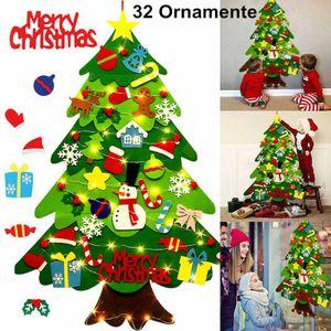 Melario Filz Weihnachtsbaum DIY LED Weihnachtsbaum 100cm DIY Weihnachten Set Hängend Nachbildung für Kinder Weihnachten Geschenk mit 32 Ornamente